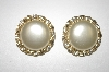 +MBA #25-059  Gold Plated Faux Pearl & Crystal Clip On's