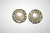 **MBA #25-052  Coro Silver Tone Faux Pearl Clip On Earrings