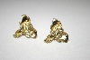 +MBA #25-046  Gold Plated Elephant Head Pierced Earrings