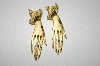 "+MBA #25-019   Gold Plated ""Hand"" Pierced Earrings"