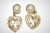 +MBA #25-028   Gold Plated Heart & Faux Pearl Pierced Earrings