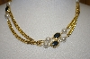 "**MBA #25-109   Gold Plated 41"" Faux Pearl & Black Onyx Necklace"