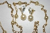 "**MBA #25-043  Gold Plated 30"" Faux Glass Pearl Necklace With Pierced Earrings"