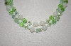 **MBA #S4-236  2 Row Green Crystal, Glass & Acrylic Bead Necklace