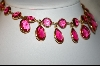 **  25 Stone Pink Glass Bezel Set Necklace