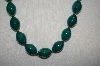**MBA #S4-250  Vintage Dark Green Acrylic Bead Necklace