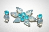 **Vintage Blue Glass Pin & Matching Clip On Earrings