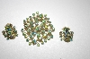 **MBA #S4-282  Gold Plated Ab Crystal Pin & Matching Clip Style Earrings