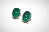 +MBA #S4-319  Gold Plated Green Glass Cabachon Clip Style Earrings