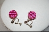 Pink Glass Ball Screw On Earrings