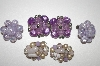 Set Of 3 Pairs Purple Cluster Clip On Earrings
