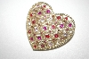 +MBA #S4-215  Gold Plated Multi Colored Rhinestone Heart Pin