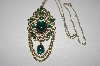 "**MBA S4-289  Beautiful Gold Toned Green Cabachon Necklace With 22"" Chain"