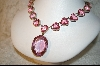 **  Beautiful 21 Stone Pink Glass Necklace