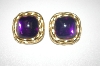 Tafari Purple Cabachon Clip Style Earrings