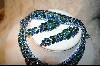 Green & Blue Crystal  Necklace, Bracelet & Earrings