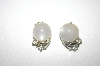 **MBA #S4-142  Coro White Acrylic & Clear Crystal Clip Style Earrings