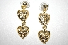 "+MBA #S4-151  ""Gold Plated Open Heart Dangle Pierced Earrings"