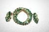 Set Gold Plated Two Shades Of Green Crystal Pin & Clip Style Earrings