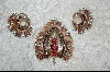 **  Beautiful Old Sterling Double Pined Brooch & Earring Set