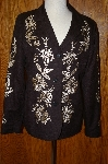 "**MBA #25-162  ""Victor Costa Black Rayon Embroidered Jacket"