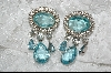 **  Aqua Blue Pear & Round Cut Clear Crystal Dangle Earrings