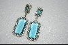Large Aqua Blue Square Cut & Clear Crystal Earrings