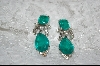 **  2 Stone Emerald Green Glass & Crystal Earrings