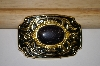 Western Style Gold Plated Black Goldstone Belt Buckle