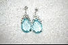 Large Pear Cut Aqua Glass & Crystal Pierced Earrings