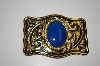 Western Style Gold Plated  Blue Chalcedony Gemstone Buckle