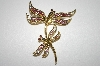 **MBA #23-588  Designer Gold Plated Double Dragonfly Pin