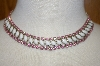 **MBA #23-278  White Milk Glass & Pink Rhinestone Vintage Necklace