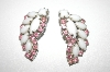 **MBA #23-286  White Milk Glass & Pink Rhinestone Vintage Clip Style Earrings