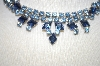 **MBA #23-301  Vintage Two Tone Blue Rhinestone Necklace
