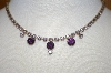 **MBA #23-305  Vintage Purple & Lavender Rhinestone Necklace