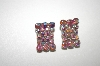 **MBA #23-311  Vintage Square Pink AB Crystal Clip Ons