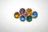 +MBA #23-317  Vintage Multi  Colored Glass Pin