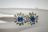 Vintage Blue & Clear Rhinestone Screw Back Earrings