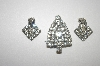 **MBA #23-344  Vintage Clear Rhinestone Pin & Clip On Earrings