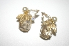 +MBA #23-370  Vintage Gold Plated Clear Glass Stone & Faux pearl Clip Ons