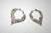 **MBA #23-562  Fancy Sterling Carved Heart Earrings