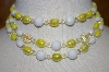 **MBA #24-475  Vintage Yellow & White Glass Three Row Necklace