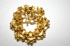 +MBA #25-460  Vintage Gold Tone Wreath Pin
