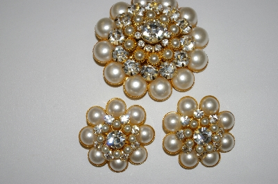 +MBA #25-440   Glass Pearl & Clear Crystal Pin & Earring Set