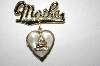 +MBA #25-519  Vintage Mother Heart Locket Pin