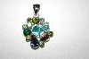 Silver Plated Multi Colored Rhinestone Pendant