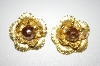 +MBA #25-451  Vintage Gold Plated Faux Pearl Clip Back Earrings