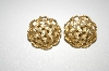 Trifari Gold Plated Round Weave Look Clip Backs