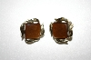 +MBA #25-244  Vintage Silver Tone Brown Acrylic Clip Backs
